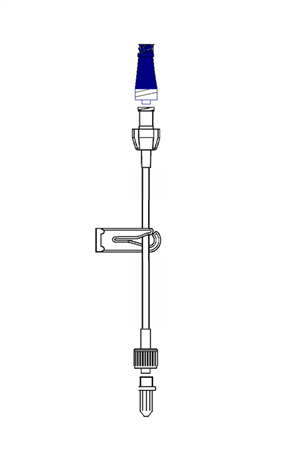 1X2.5mm EXTENSION, 10cm WITH BIOSAFETY VALVE - INJECTION / ASPIRATION WITH DISINFECTION POINT, CLAMP, FEMALE LUER LOCK AND MALE LUER LOCK