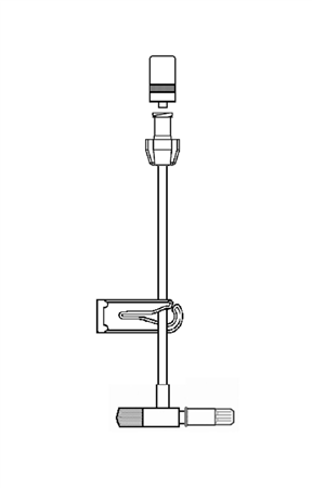 EXTENSION WITH T INJECTION POINT, LUER SLIP AND COVER WITH INJECTION POINT, 10cm