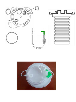FLEXIBLE BAG FOR SUCTION OF ORGANIC FLUIDS OF 1000ml / 1500ml / 2000ml, WITH HOLE FOR THE INTRODUCTION OF LIQUID SOLIDIFIER AND SPECIMEN COLLECTION. SERIAL USE - TANDEM. ANTI-FOAM