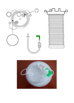 FLEXIBLE BAG FOR THE ASPIRATION OF ORGANIC FLUIDS OF 3000ml, WITH HOLE FOR THE INTRODUCTION OF LIQUID SOLIDIFIER AND SPECIMEN COLLECTION. SERIAL USE - TANDEM. ANTI-FOAM