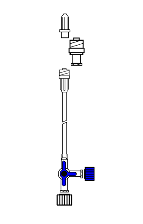 BLUE 3-WAY TAP WITH 10cm EXTENSION AND ANTI RETURN VALVE (VAR1)