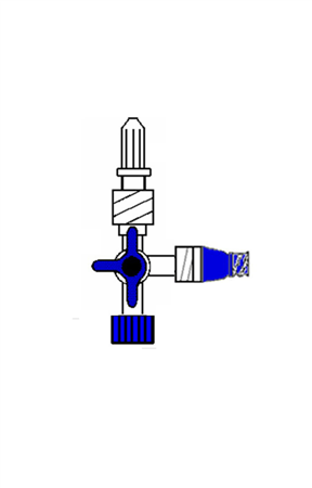 BLUE 3-WAY TAP WITH BIDIRECTIONAL VALVE